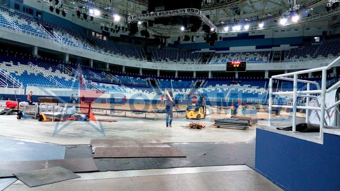 Монтаж борцовских коров от РОССАМБО для Чемпионата мира по самбо 2017